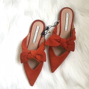 Zara Leather Mules with Bow
